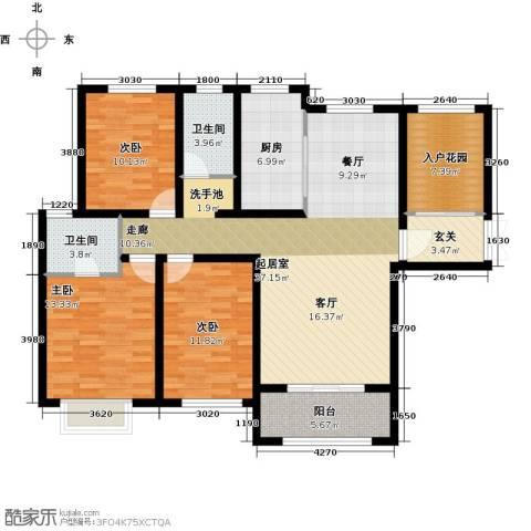 兰田首府3室0厅2卫1厨136.00㎡户型图