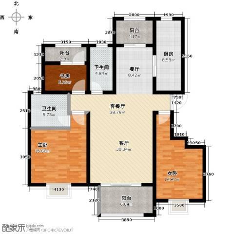 鑫苑湖居世家3室1厅2卫1厨155.00㎡户型图