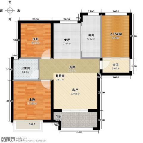 兰田首府2室0厅1卫1厨99.00㎡户型图