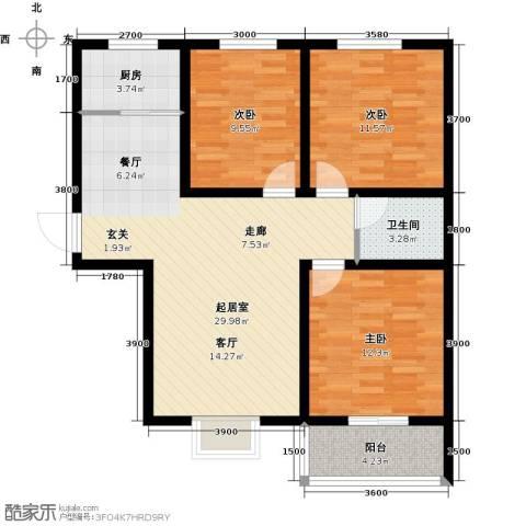 曲江新苑3室0厅1卫1厨107.00㎡户型图
