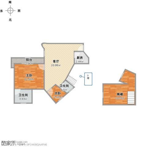 华佳花园别墅2室1厅2卫1厨83.00㎡户型图