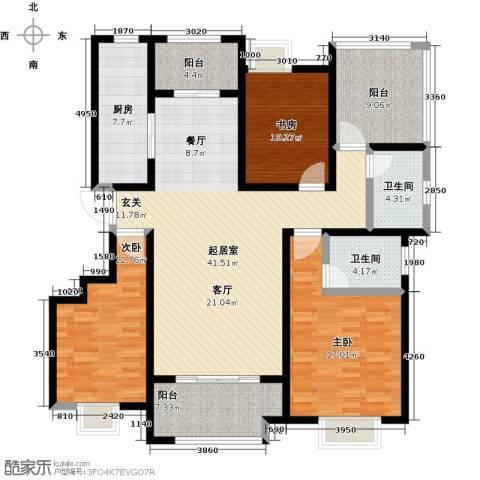 鑫苑湖居世家3室0厅2卫1厨171.00㎡户型图