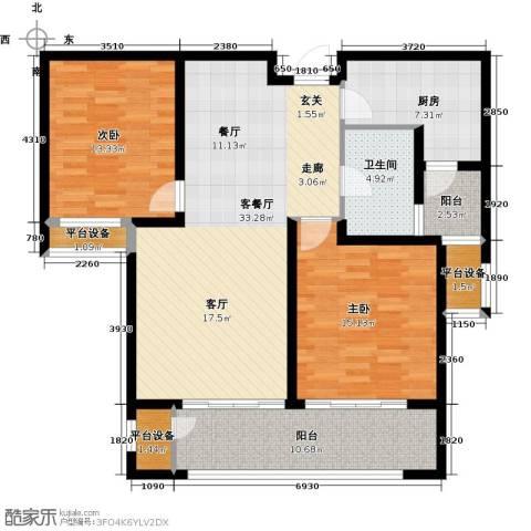 九龙仓擎天半岛2室1厅1卫1厨105.00㎡户型图