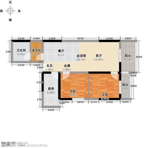 东城�景2室0厅1卫1厨96.00㎡户型图