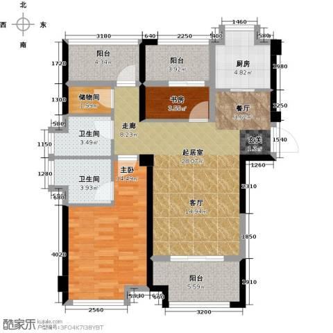 正荣・财富中心2室0厅2卫1厨89.00㎡户型图
