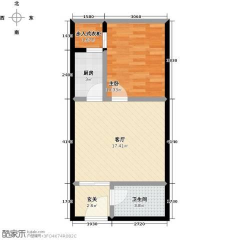 未来石1室1厅1卫1厨56.00㎡户型图