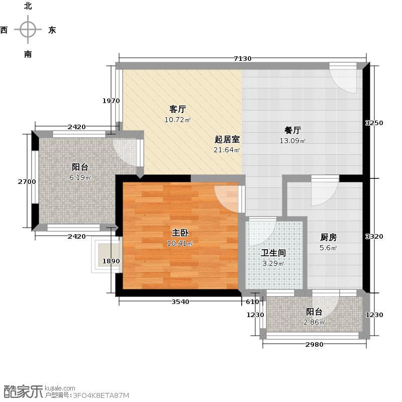 金茂珑悦A-3带空中院馆户型1室1卫1厨