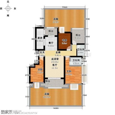 鑫苑湖居世家3室0厅2卫1厨175.00㎡户型图