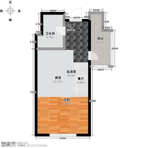 蓝海国际公寓1卫0厨49.00㎡户型图