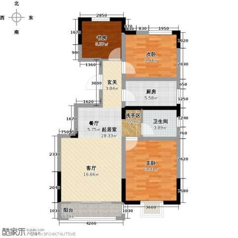 首创炫社区3室0厅1卫1厨99.00㎡户型图