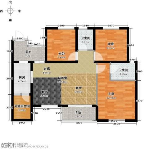世豪广场3室0厅2卫1厨88.00㎡户型图