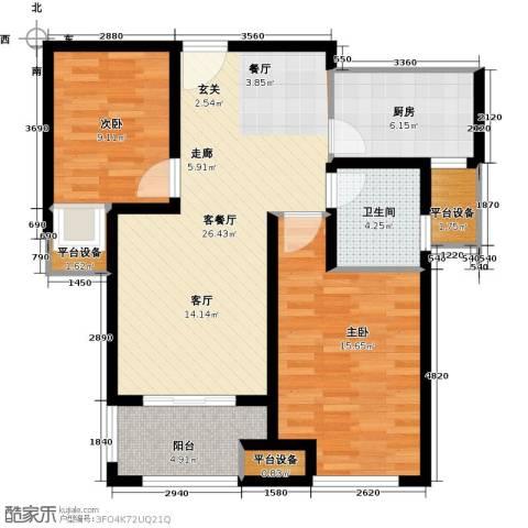 鑫苑景城2室1厅1卫1厨82.00㎡户型图