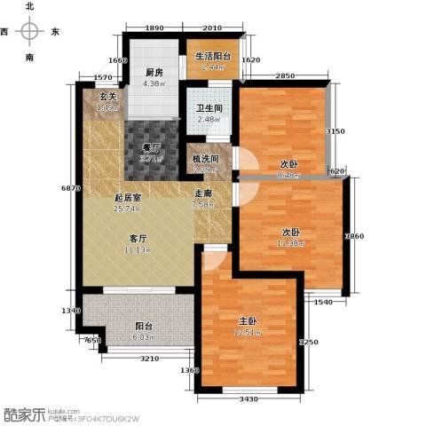 世豪广场3室0厅1卫1厨86.00㎡户型图
