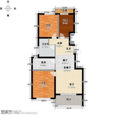 悦上海3室1厅1卫1厨106.22㎡户型图