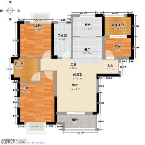 平安光谷春天3室0厅2卫1厨105.00㎡户型图
