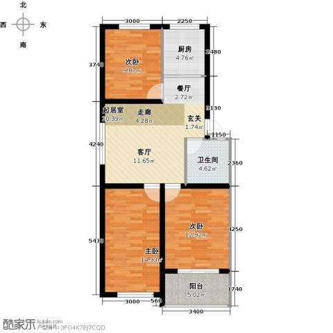恒信阳光新城3室0厅1卫1厨93.00㎡户型图