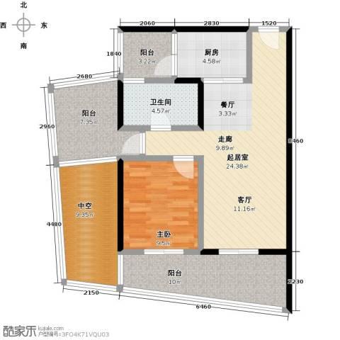 海悦湾1室0厅1卫1厨77.00㎡户型图