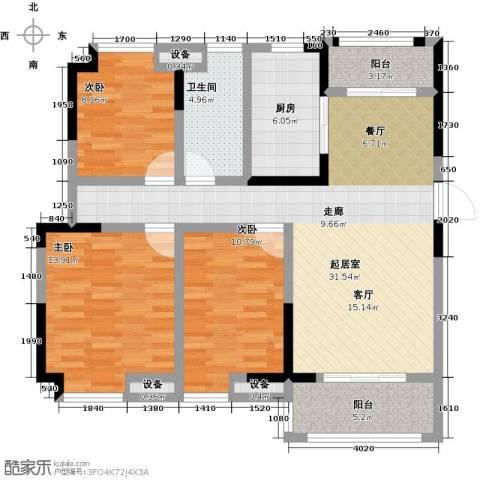 美的城3室0厅1卫1厨107.00㎡户型图