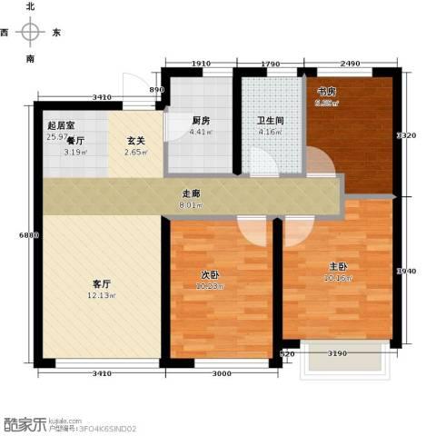 大连港天下粮仓3室0厅1卫1厨88.00㎡户型图