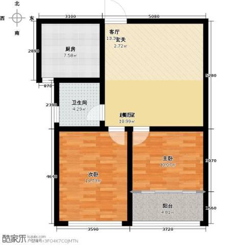 骏龙花园2室0厅1卫1厨75.00㎡户型图