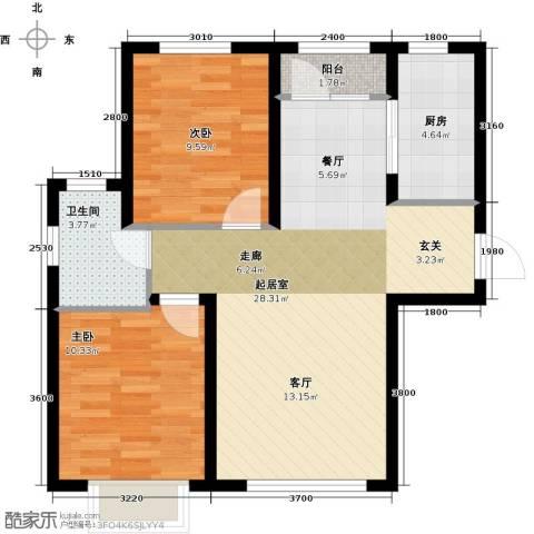 欧尚广场2室0厅1卫1厨86.00㎡户型图