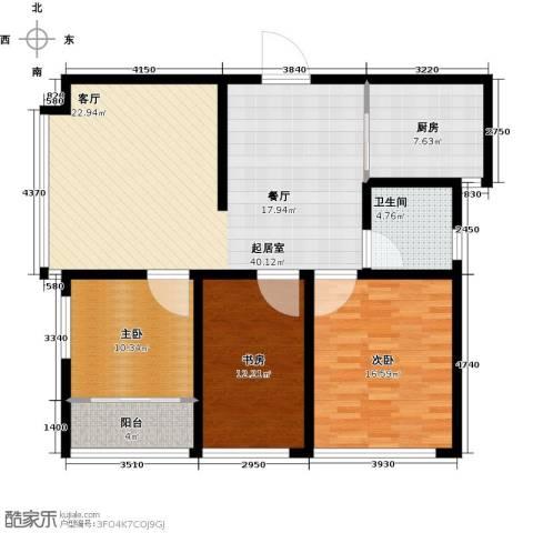骏龙花园3室0厅1卫1厨108.00㎡户型图
