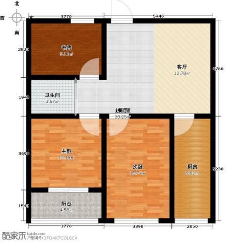 骏龙花园3室0厅1卫1厨91.00㎡户型图