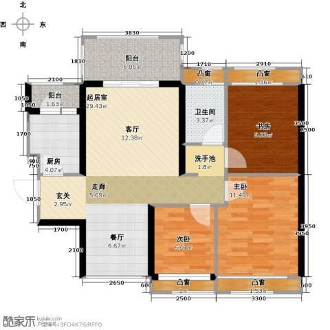 信德半岛3室0厅1卫1厨89.00㎡户型图