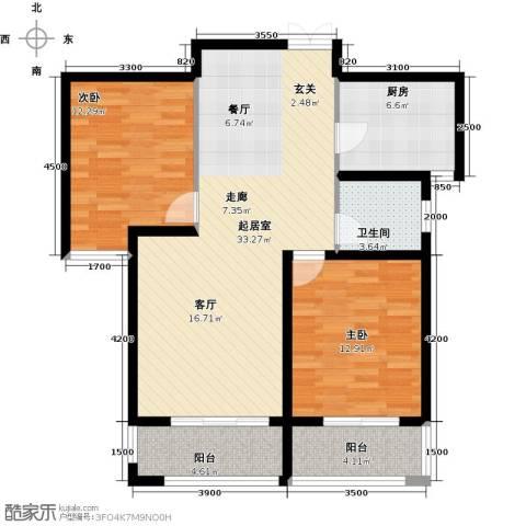 润德天悦城2室0厅1卫1厨93.00㎡户型图