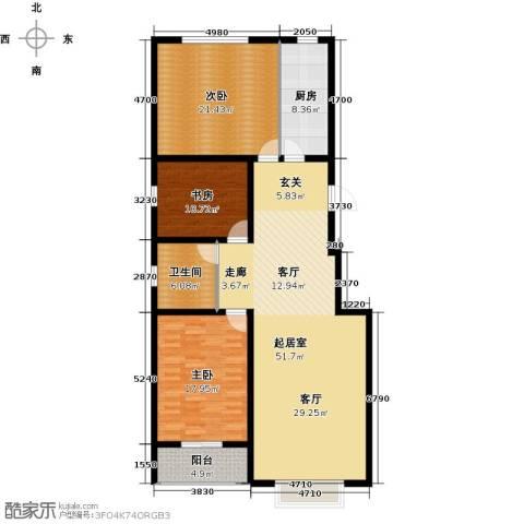 丽景华庭3室0厅1卫1厨168.00㎡户型图