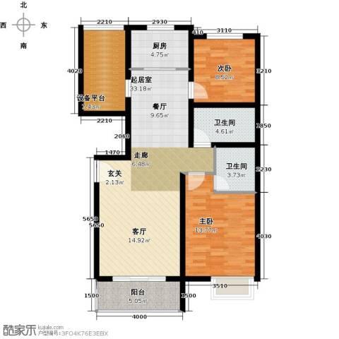 滨江国际2室0厅2卫1厨101.00㎡户型图