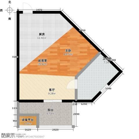 蓝海国际公寓1卫0厨55.00㎡户型图