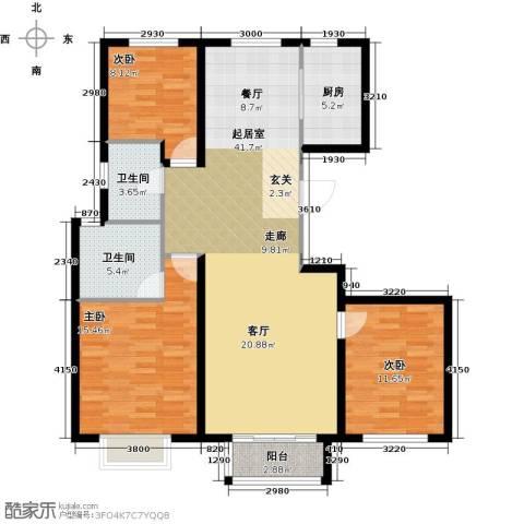 中冶世家3室0厅2卫1厨132.00㎡户型图