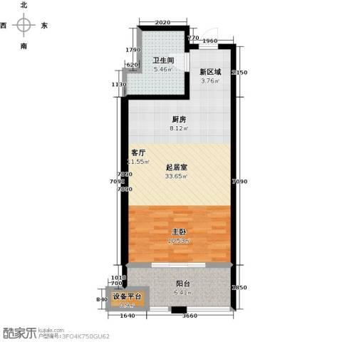 蓝海国际公寓1卫0厨46.42㎡户型图
