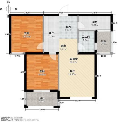 铂宫时代2室0厅1卫1厨96.00㎡户型图