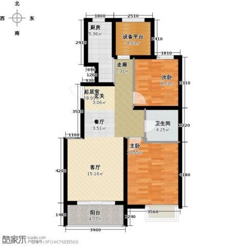 滨江国际2室0厅1卫1厨87.00㎡户型图