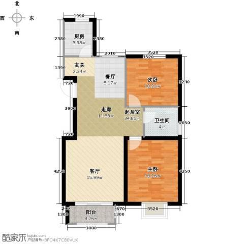 中冶世家2室0厅1卫1厨96.00㎡户型图