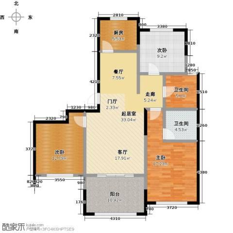 云厦阳光福邸3室0厅2卫1厨110.00㎡户型图