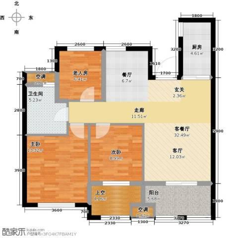 云峰苑3室1厅1卫1厨94.11㎡户型图