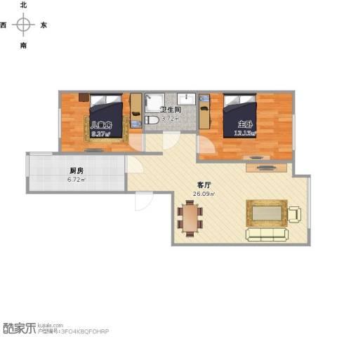 府和苑2室1厅1卫1厨78.00㎡户型图