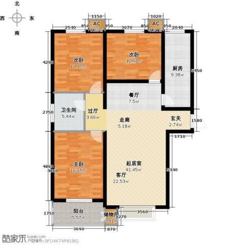 丽景华庭3室0厅1卫1厨118.00㎡户型图