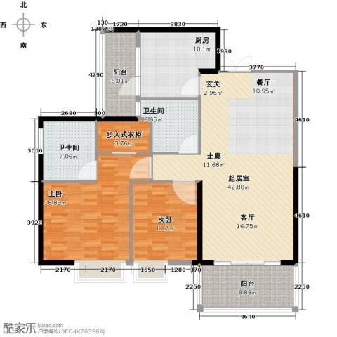 南昌雅颂居2室0厅2卫1厨160.00㎡户型图
