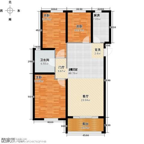 华明星海湾3室0厅1卫1厨118.00㎡户型图
