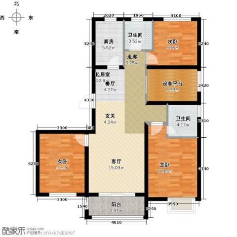 滨江国际3室0厅2卫1厨115.00㎡户型图