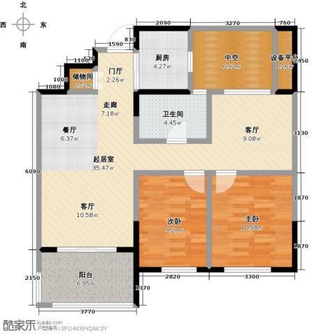 云厦阳光福邸2室0厅1卫1厨93.00㎡户型图