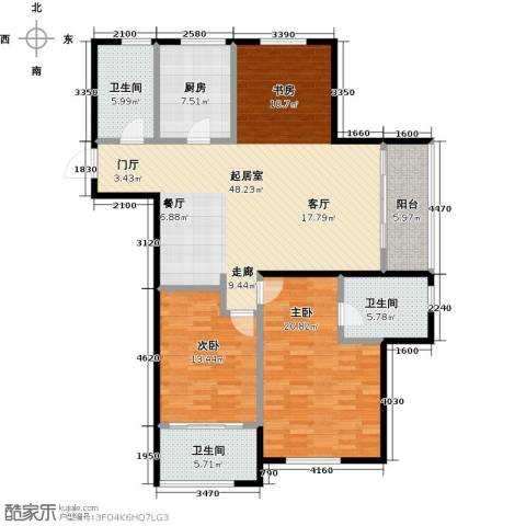 云厦阳光福邸2室0厅3卫1厨126.00㎡户型图