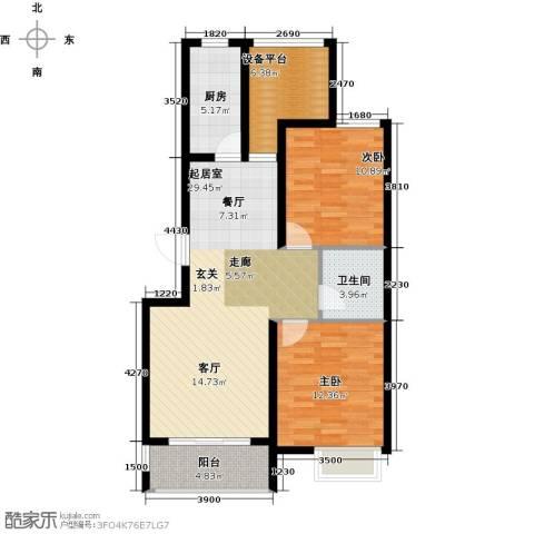 滨江国际2室0厅1卫1厨90.00㎡户型图