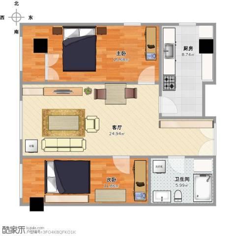 东方郁金香2室1厅1卫1厨92.00㎡户型图