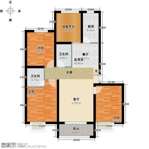 滨江国际3室0厅2卫1厨117.00㎡户型图