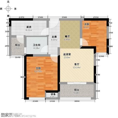 美的城2室0厅1卫1厨81.00㎡户型图